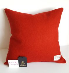 Harris Tweed Cushion Cover - Red plain Twill by Lucy Wagtail