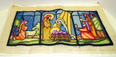 1977 Christmas Needlepoint Completed Nativity Holy Family w/Wise Men & Sheperds