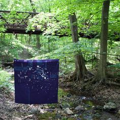 """A nice moment by a creek in Geneva, IL.  Heidi Parkes with her quilt """"Night Flight no. 1"""""""