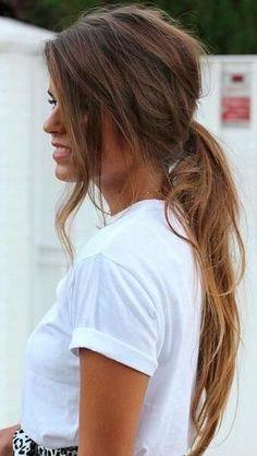 low pony + romantic curl