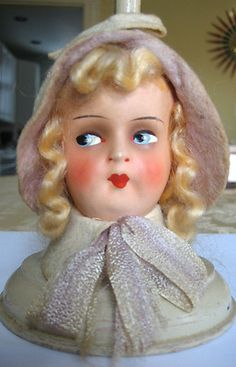 a3bdeef107c Antique German Doll Hat Stand 1920 s Composition Cloche Flapper Boudoir Doll