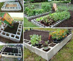 Cinder block edging for raised bed