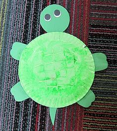 Letter T - Paper Plate Turtle (use hot glue to draw lines on plate before painting)