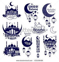 Emblems labels set. Ramadan Kareem Muslim holiday celebration. Greeting card flyer poster design. Badges vector illustration. Moon mosque and lantern - buy this stock vector on Shutterstock & find other images.