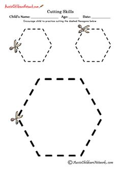 Scissors practice, cutting shapes (free printable)