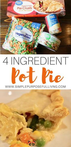 Easy 4 Ingredient Chicken Pot Pie | Simple Purposeful Living Easy pot pie recipe with just 4 ingredients. Chicken pot pie or turkey pot pie perfect for thanksgiving leftovers. Pot pie uses refrigerated pie crust to make a simple, easy dinner. #dinner #fallrecipe #easydinner #easyrecipe<br> An easy chicken pot pie recipe that uses just 4 ingredients including refrigerated pie crust. Make this easy pot pie for a quick dinner. Crock Pot Recipes, Easy Pie Recipes, Casserole Recipes, Healthy Recipes, Greek Recipes, Recipes Dinner, Easy Leftover Chicken Recipes, Easy Pot Pie Recipe, Dinner Ideas