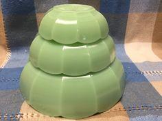 Rare Paneled Nut Bowl Set Jadeite Jadite Moser Glass Few Made Nesting Scalloped