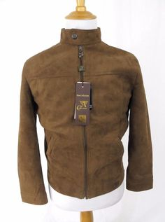 A Collezioni Bomber Jacket Small Suede Flight Coat Snap Collar Armani NEW Italy #ACollezioni #FlightBomber