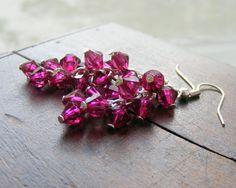 Grape cluster earrings purple magenta earrings by kapelusznik