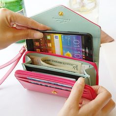 cute envelope wallet that can hold your smartphone, credit cards, and cash.  http://rstyle.me/n/dr2jqnyg6