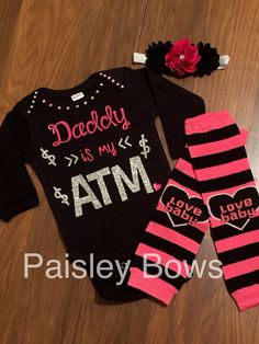 6df42d5034b0 Daddy is my ATM by PaisleyBows on Etsy · New Baby GirlsLittle ...