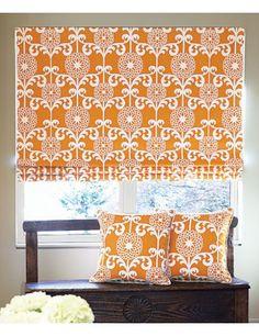 Flat Roman Fabric #Shades in Dahlia/ #Tangerine 14141