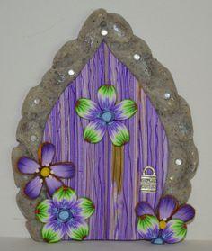 Purple Flower Fairy Door Fairy Garden Fairy Decor by sewaddictd