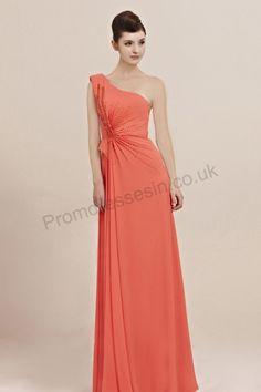 orange one-shoulder ruffle chiffon bridesmiad prom dress 2013