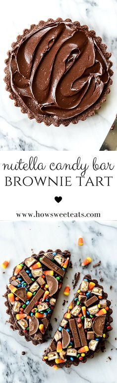 Peanut Butter Nutella Candy Bar Brownie Tart - a great way to use up leftover Halloween Candy! I howsweeteats.com @howsweeteats
