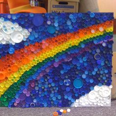 Students made this from upcycled bottle caps.