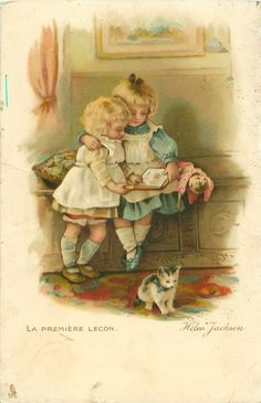 LA PREMIERE LECON/The First Lesson, Helen Jackson. A little girl teaching her baby sister to read, with kitten and doll in attendance.