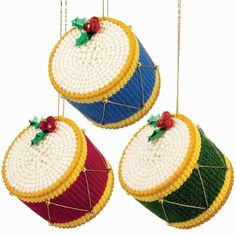 Holiday Drum Ornaments Plastic Canvas Kit - Herrschners