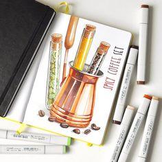 Spicy coffee set ☕️#markers #copic #cookbook #sketch #sketchbook #Leuchtturm1917 #recipejournal #illustration