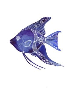 This is an open print of one of my watercolor illustrations. Printed on of free Epson Velvet Fi Silk Painting, Watercolor Paintings, Angel Fish, Animal Sketches, Animal Decor, Fish Art, Underwater Photography, Art Plastique, Marine Life