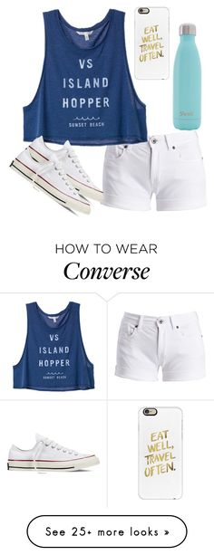 """""""VS island hopper"""" by melw44 on Polyvore featuring Barbour International, Converse, S'well and Casetify"""