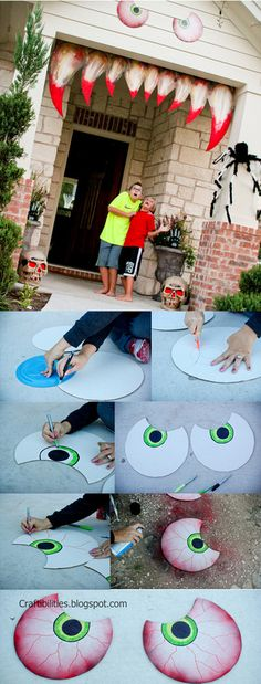 SPOOKY EYES - Making your house come ALIVE! Halloween decoration IDEAS - DIY Tutorial - possible decor idea. Will also need outdoor lighting to accentuate during Halloween. Deco Porte Halloween, Halloween Veranda, Fröhliches Halloween, Adornos Halloween, Manualidades Halloween, Outdoor Halloween, Halloween Disfraces, Halloween Birthday, Halloween Projects