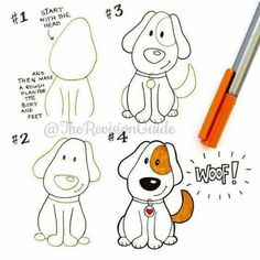 Simple dog doodle sketch how to