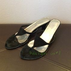 ❗️Reduced❗️Colin Stuart Black Suede Kitten Heels Suede Kitten heeled sandals by Colun Stuart for Victoria's Secret. Comfortable, adds casual dressy feel to dresses and capris. Heel tips would need to be replaced, but not noticeable when worn. Priced accordingly.  Lots of life left. Colin Stuart Shoes Heels