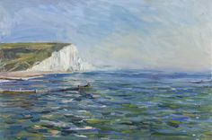 Tom Benjamin Cuckmere Haven High Tide Oil on Canvas 61 x 91 cm available Summer Courses, Oil Painters, High Tide, Seascape Paintings, Impressionism, Oil On Canvas, Toms, England, Waves