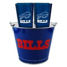 Buffalo Bills Tailgate Set (5 QT Metal Bucket, 4 16oz Cups, 4 Coasters) from TailgateGiant.com