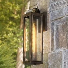 This wall lantern unites updated elements with time-tested details. A simple, clean cage, a knurled socket to forge an unforgettable mixed metal look. Durable, aluminum construction combines with clear glass panels to create a beacon of enduring style. Contemporary Outdoor Wall Lights, Outdoor Barn Lighting, Outdoor Ceiling Fans, Outdoor Wall Lantern, Porch Lighting, Outdoor Wall Sconce, Outdoor Walls, Wall Sconce Lighting, Wall Sconces