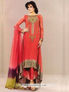 Vermilion semi #formal #dress, full sleeves, boat neck slight flared high low hem long shirt with straight pant http://www.needlehole.com/vermilion-semi-formal-dress-high-low-hem-shirt-with-straight-pants-dip-dyed-dupatta.html Pakistani formal dresses and salwar kamiz by mehdi. Beautiful indian #shalwar #kameez, #engagement #dresses and kameez ##salwar by mehdi in uk, usa, australia, saudi arabia