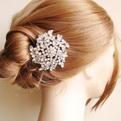 Bridal Hair Comb, Crystal Flower Bridal Hair Piece, Rhinestone Bridal Head PIece, Vintage Style Garden Wedding Hair Accessories, LENA. $62.00, via Etsy.