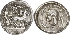 GREEK. Sicily, Syracuse (c.510-485 B.C.), Silver Tetradrachm, 17.35g, 2h. Charioteer, wearing a long chiton, holding a kentron in his left hand and the reins in his right, driving a quadriga right, Nike flies above to right to crown the horses. Rev. ΣV-RA-KO-ΣION, head of Arethusa facing left, wearing a pearl-diadem, earring and necklace, four dolphins swimming around