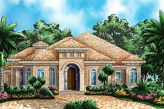 European Style House Plan - 3 Beds 3 Baths 2764 Sq/Ft Plan #27-440 Exterior - Front Elevation - Houseplans.com