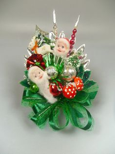 Christmas Corsage Vintage Elves Reindeer Mercury Glass Bottlebrush tree Decoration Red Green - An adorable Christmas corsage with loads of vintage holiday