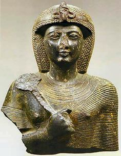 Bust of a statue of Ramses II. The bust is part of a seated statue of Ramses II. He holds in his right hand and scepter heqa used a wrist strap decorated with eye oudjat that symbolizes health and divine perfection..