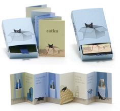 Catku: Matchbox with illustrated book with haiku about cats.