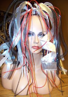 Light up Wig Cyberlox Red Black Silver White by AllSizeHOTChicks