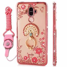 Huawei mate 9 case luxury rhinestone stand holder cover for huawei mate 9 silicone rose gold mate9 diamond phone cases + Lanyard #Affiliate