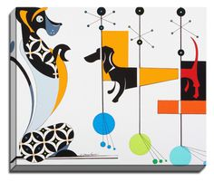 Dachshund Play by Dominic Bourbeau Graphic Art on Canvas