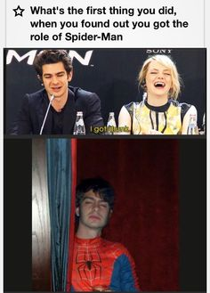 Andrew Garfield and Emma Stone, Spider-Man conference.