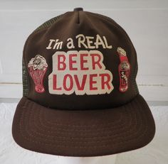 Vintage Beer Lover Mesh Snapback Trucker Hat Cap Funny Novelty Drinking Man  Cave Brown Im a 8bd5585e4dea