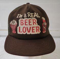 54bc5717541 Vintage Beer Lover Mesh Snapback Trucker Hat Cap Funny Novelty Drinking Man  Cave Brown Im a