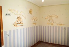 mural conejitos Cata, Ideas Para, Nostalgia, Wall Art, Children, Dresses, Design, Home Decor, Murals