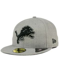 New Era Detroit Lions Heather Black White 59FIFTY Fitted Cap - Gray 7 3/8