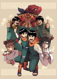 Metal Lee, Rock Lee, Tenten, Gai-sensei y papá gai Anime Naruto, Naruto Shippudden, Naruto Fan Art, Naruto Gaiden, Naruto Teams, Naruto Cute, Me Anime, Naruto Shippuden Anime, Kakashi