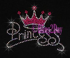 Princess Hot Pink Crown Iron on Rhinestone by BlingPlaza on Etsy