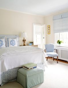 white and blue fresh bedroom - love the monogrammed pillows