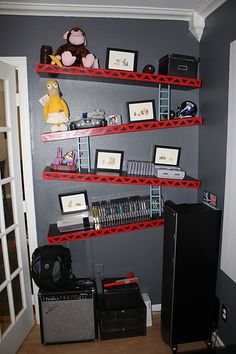 How cool are these shelves?!?  When I have a little boy one day